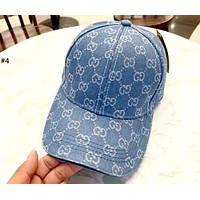 GUCCI 2019 new denim washed full printed logo couple baseball cap cap #4