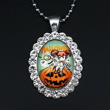 New BL0029 Oval Rhinestone Halloween pumpkin Glass cabochon Necklace 60CM 2 styles DIY jewlery Stainless steel chain