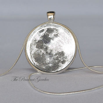 FULL MOON Pendant White Gray Silver Full Moon Necklace Halloween Necklace Glass Pendant Planet Jewelry Necklace Included