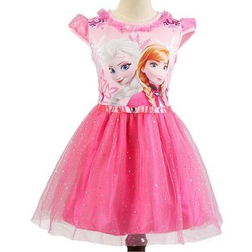 Girls Anna Elsa Dress Girl Cartoon Sequined Princess Dress Children Summer Dress Kids Party Dresses for Girls Snow Queen Costume