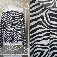 90's Zebra sheer / transparent cardigan / blouse// Long Sleeve // Black and light gray