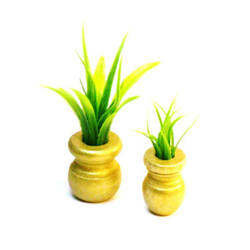 Miniature Plant Set Fairy Garden Gold Flower Pots with Artificial Air Plants