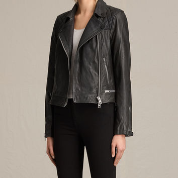 ALLSAINTS US: Womens Conroy Leather Biker Jacket (Ink)