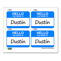 Dustin Hello My Name Is - Sheet of 4 Stickers