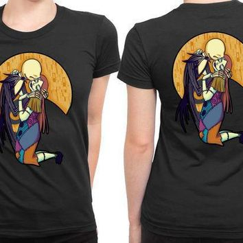 A Kiss Before Christmas Jack And Sally 2 Sided Womens T Shirt