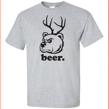 Beer Bear Deer hunting funny drinking US hoodie tee shirt t-shirt Mens Womens Ladies USA Canada wild wildlife redneck moose turkey DT-214