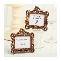 Place Card Holder Frames Set of 5 - Small Copper Picture Frame for Table Numbers - Wedding Favors Party Favor Victorian Bridal Shower