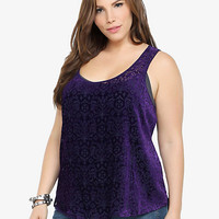 Damask Burnout Hi-Lo Tank Top | Torrid