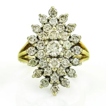 Diamond Cluster Ring 14k White Yellow Gold Size 6 Fine Vintage Estate Jewelry 2ct