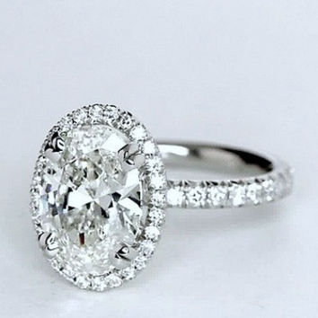1.82ct F-SI1 Oval Diamond Engagement Ring GIA certified 18kt JEWELFORME BLUE