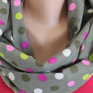 Women's Scarf, Polka Dots Loop Scarf, Green Circle Scarf, Khaki Green Pink Yellow Beige Scarf, Cute Designer Scarf, Gift For Her,Polka Dots