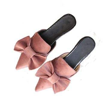 2017 NEW Women sandals slippers bowtie summer fashion vacation sandals point toe flats suede Sweety quality shoes ALF530