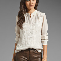 Rebecca Taylor Sequin Silk Blouse in Powder from REVOLVEclothing.com