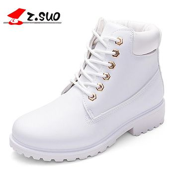 Spring Women Boots PU Leather Women Shoes Lace-up Ankle Boots for Lady Girl Comfortable Platform Flat Boots