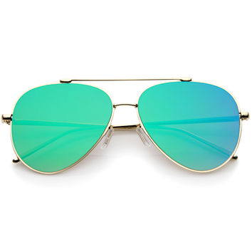 Rimless Teardrop Color Mirrored Flat Lens Wire Frame Aviator Sunglasses 58mm