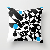 Black and Blue and White All Under Throw Pillow by Vikki Salmela | Society6