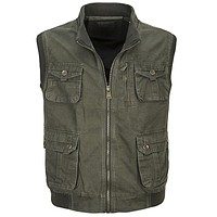 Men Work Vest Multi Pocket Vest of Men Male Vests Outerwear High Quality Waistcoats