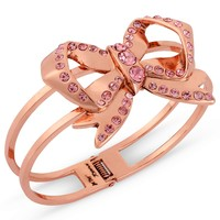 Betsey Johnson Bracelet, Rose Gold-Tone Pink Crystal Bow Hinge Bangle - Spring Jewelry Trends - Jewelry & Watches - Macy's