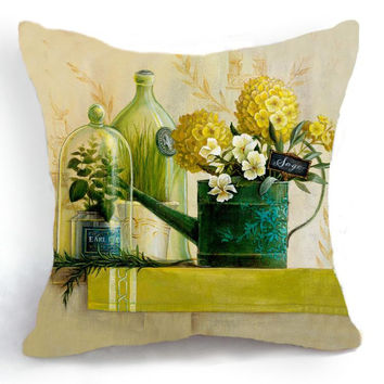 Retro Vintage Green Vase Yellow Flower Home Decorative Cotton Linen Pillow Case Cushion Cover 18'' 45CM