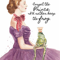 Woman Watercolor PRINT - 11x14 Print, Frog Watercolour, Frog and Princess, Portrait Painting
