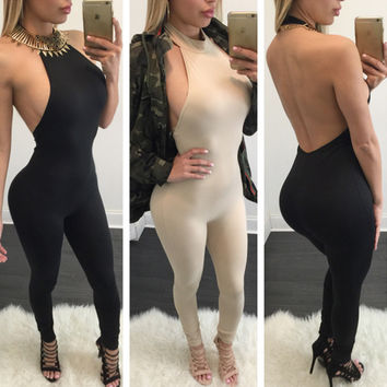 Halter Sleeveless Backless Pure Color Long Jumpsuit