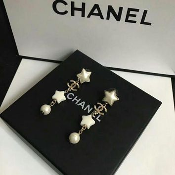 Chanel Logo With Star Shaped And Spherical Pearl Long White Earrings Dangle