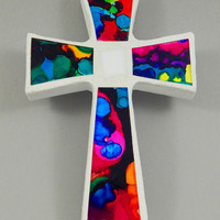 "Mosaic Wall Cross, Small, White with Hand Painted Rainbow Glass, Handmade Stained Glass Mosaic Cross Wall Decor, 6"" x 4"""