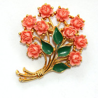 Coral Roses Brooch Pin - Resin Coral Orange Bouquet Brooch - Carved Flowers - Gold Tone - Vintage
