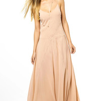 Beige Strappy Open Back Chiffon Maxi Dress