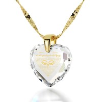 """Heart Sutra"", 24k Gold Plated Necklace, Zirconia"