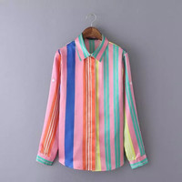 Rainbow Stripes Pointed Flat Collar Long Sleeve Button Up Satin Top