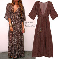 New Fashion Print Women Chiffon Dress 3/4 Sleeve Maxi Bohemian Dress Sexy Women Beach Dress Maxi Summer Vestidos For Party 41
