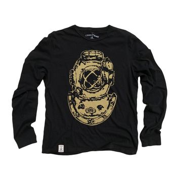 Mark V Antique Divers Helmet: Organic Fine Jersey Long Sleeve T-Shirt in Black
