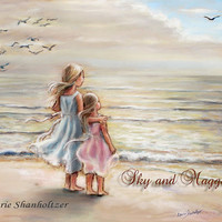"""Girls, Sisters, Beach, Personalized, Names, Hair, color added """"The Ocean's Lullaby"""" by Laurie Shanholtzer"""