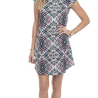 Multi Geo Print Woven T-Shirt Dress