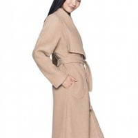 Coat with belted waist - COATS & JACKETS - WOMAN