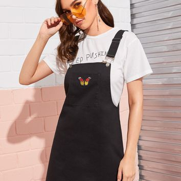 Butterfly Embroidered Pocket Pinafore Dress