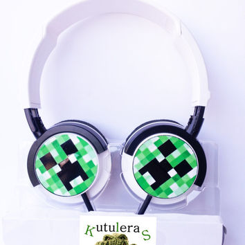MINECRAFT  CREEPER HEADPHONES geek console 8-bit ps4 xbox donkey kong videogame pixel pig notch arcade