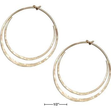 12 KARAT GOLD FILLED HAMMERED FLAT BOTTOM DOUBLE HOOP EARRINGS