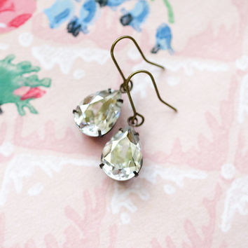 Grey Gray Silver Crystal Earrings in Antique Brass - Old Hollywood - Mercury Glass, Sterling Patina