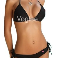 Voglee Halter Padded Top Scrunch Bottom Bikini Swimwear Beachwear
