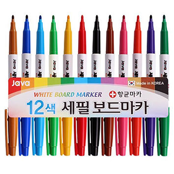 Java Pen Extra Fine 2.4mm Nip White Board Marker Antibacterial Pen (Pack of 12 Colors)