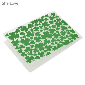 She Love Plastic Embossing Folder For Scrapbooking Green Clover Template Stencil DIY Papercraft Paper Card Decoration