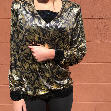 Bold 1980s Black and Gold Foil Sequin Shirt / Betsy and Adam / Silky Soft Metallic Material / Women's Medium / Elastic Waist / Made in USA