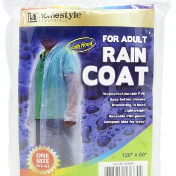 Adult PVC Raincoat with Hood - CASE OF 48