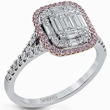 "Simon G. White & Rose Gold ""Simon Set"" Mosaic Emerald Cut Diamond Ring"