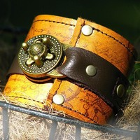Steampunk Leather Cuff with Secret Pocket  for Women - Timeless Romance