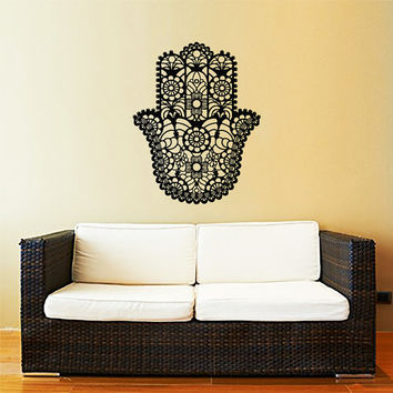 Hamsa Wall Decal Vinyl Sticker Decals Home Decor Hamsa Hand Fish Eye Indian Buddha Yoga Fatima Ganesh Lotus Patterns Art Bedroom Dorm ZX194