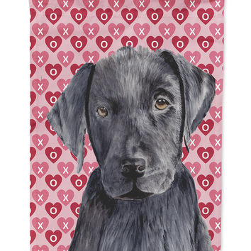 Labrador Black Hearts Love Valentine's Day Flag Garden Size