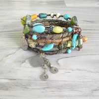Silk Road Gypsy Bangle Stack - Baghlan II - 5 Bohemian Tribal Bracelets, Silk Wrapped and Beaded